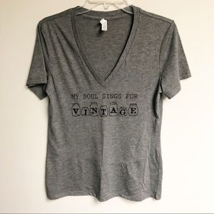 Tops - V-neck Tee with Vintage saying!